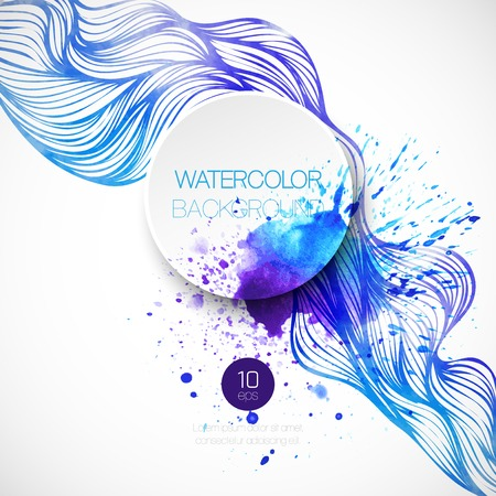 Watercolor wave background. Vector illustration Stock fotó - 37118707