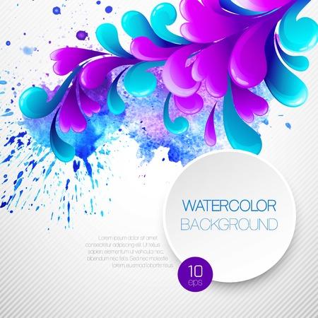 curls: Curls watercolor background. Vector illustration.