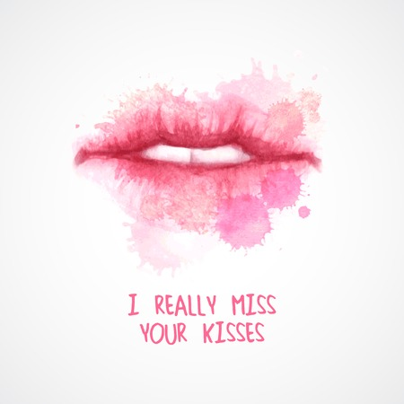 lipstick kiss: Lips painted in watercolor. Vector illustration