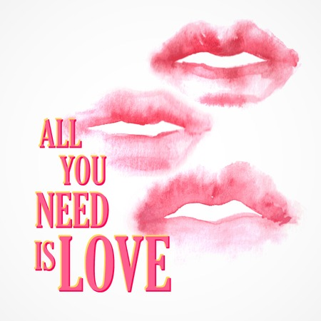 kiss lips: Vector inscription  All You need is Love poster or greeting card Illustration