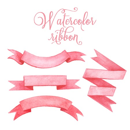 pink paint: Watercolor tape. Set of vector banners. Illustration