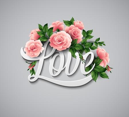 Word liefde met bloemen. Vector illustratie