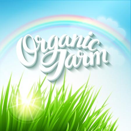 Organic Farm with grass and rainbow Vector
