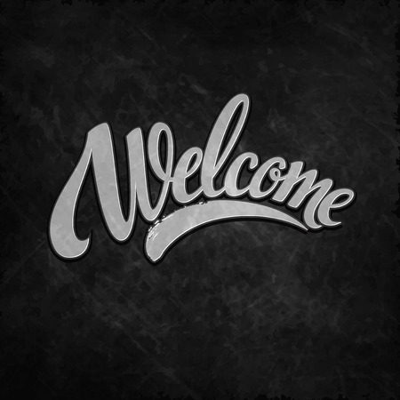cordial: Welcome  hand lettering. Vector illustration