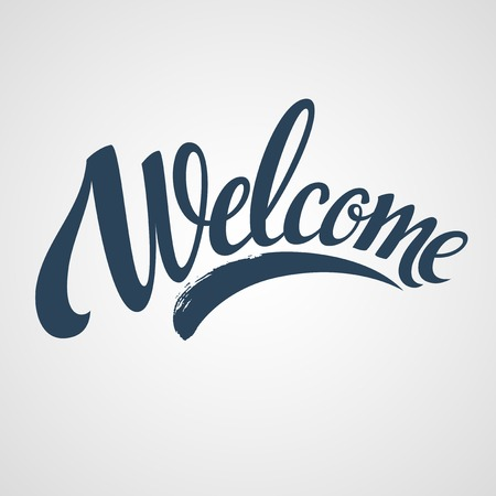 text background: Welcome  hand lettering. Vector illustration