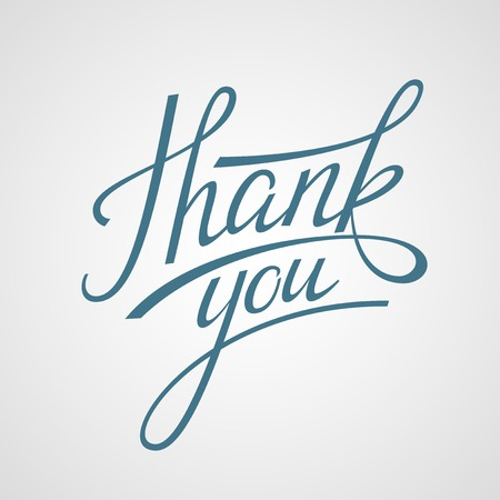 thanks: Hand Lettering Thank you. Vector illustration