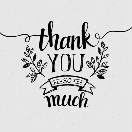 thank you cards: Lettering Thank you. Vector illustration Illustration