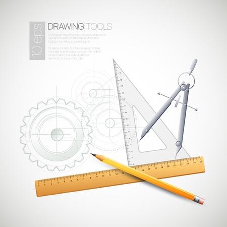 herramientas de mec�nica: Ilustraci�n del vector con las herramientas de dibujo y dibujo