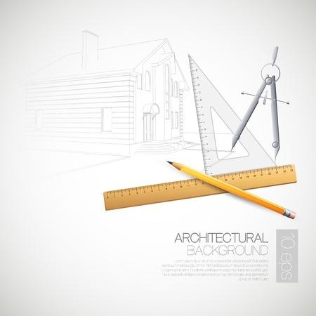 Illustrazione di vettore dei disegni architettonici e strumenti di disegno Archivio Fotografico - 37616115