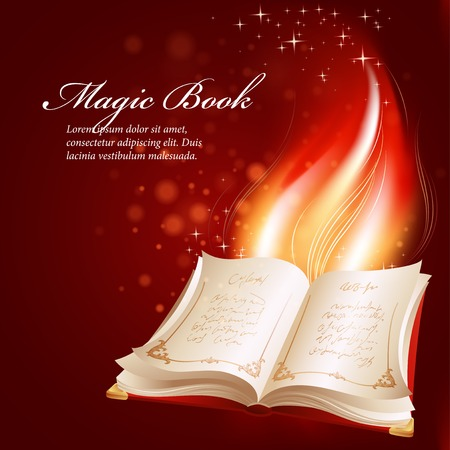 reading bible: Vector illustration of a magical book.