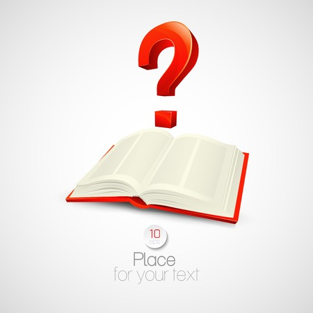 book mark: The book with a question mark. Vector illustration