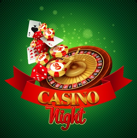 Casino background with cards, chips, craps and roulette. Vector illustration