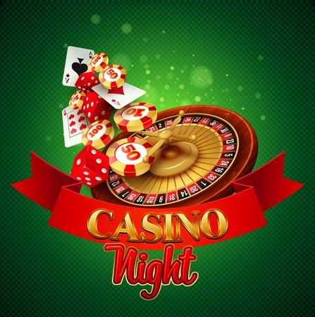 rueda de la fortuna: Fondo del casino con cartas, fichas, dados y ruleta. Ilustraci�n vectorial Vectores