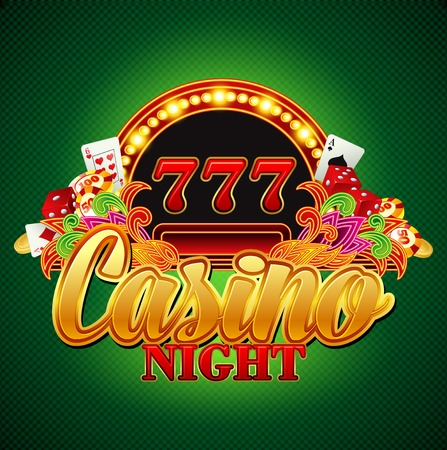 american roulette: Casino background with cards, chips, craps. Vector illustration