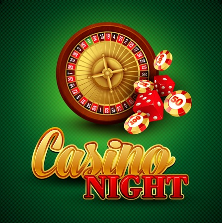 american roulette: Casino background with cards, chips, craps and roulette. Vector illustration