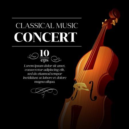 orquesta clasica: Cartel de un concierto de m�sica cl�sica. Ilustraci�n vectorial