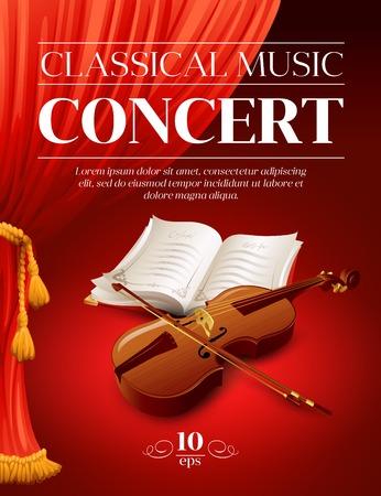 orquesta clasica: Cartel de un concierto de música clásica. Ilustración vectorial