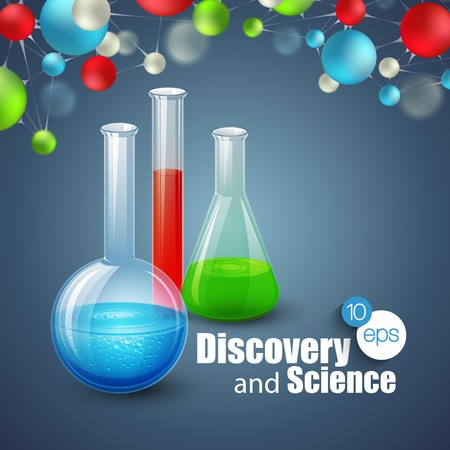 a substance vial: Chemical Science and discovery. Vector illustration. Molecule and flasks Illustration