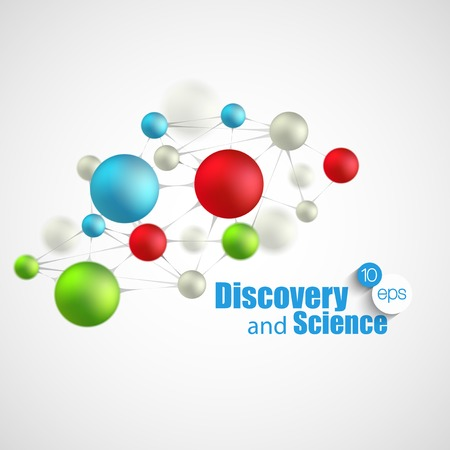 drug discovery: Chemical Science and discovery. Vector illustration. Molecule and flasks Illustration