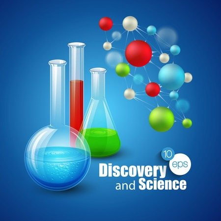 discovery: Chemical Science and discovery. Vector illustration. Molecule and flasks Illustration