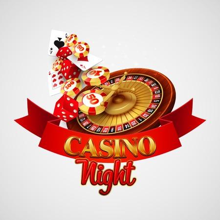 rueda de la fortuna: Fondo del casino con cartas, fichas, dados y ruleta. Ilustración vectorial Vectores