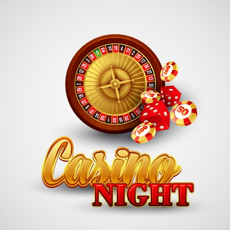 Casino background with cards, chips, craps and roulette. Vector illustration Vector