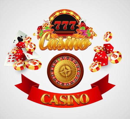 wheel of fortune: Casino background with cards, chips, craps and roulette. Vector illustration