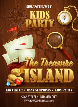 treasure map: Aviador del partido de la isla del tesoro. Modelo del vector EPS 10 Vectores