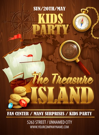 ancient ships: Treasure Island party flyer. Vector template EPS 10
