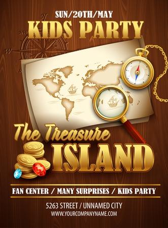 Treasure Island party flyer. Vector template Illustration