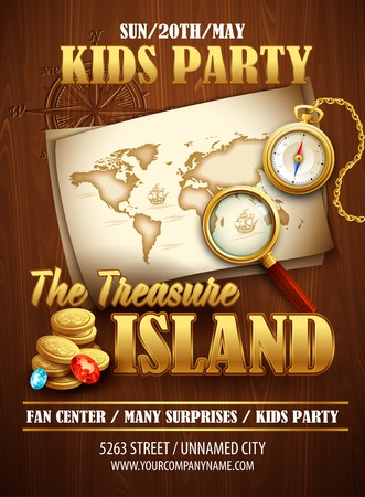 treasure chest: Treasure Island party flyer. Vector template Illustration