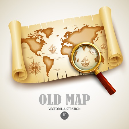isla del tesoro: Mapa viejo de la vendimia. Ilustración vectorial