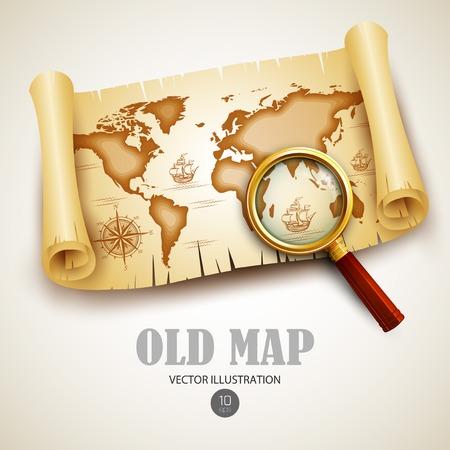 Old vintage map. Vector illustration