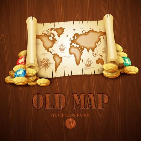 cofre del tesoro: Mapa viejo de la vendimia. Ilustración vectorial