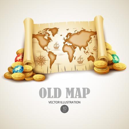 gold coins: Old vintage map. Vector illustration