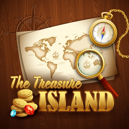 carte tr�sor: Treasure Island party flyer. mod�le de Vector EPS 10