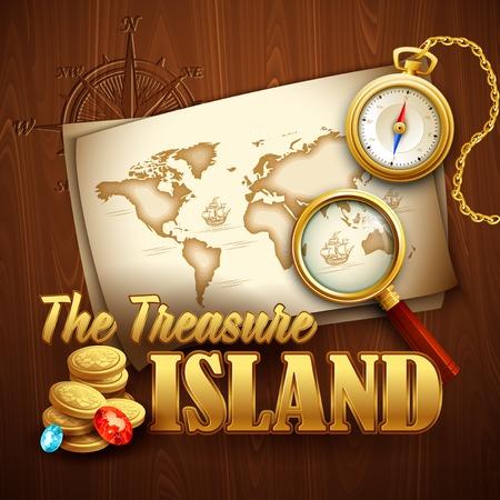 gold treasure: Treasure Island party flyer. Vector template EPS 10