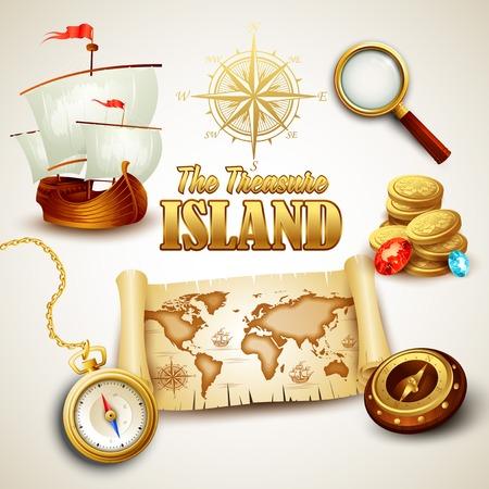 gold treasure: Treasure Island. Vector icons set