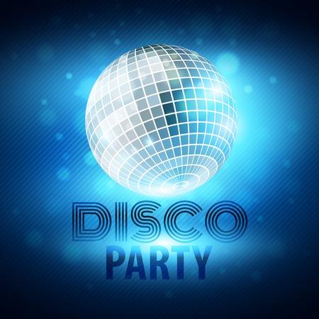 disco: Disco party. Mirror sphere Vector illustration