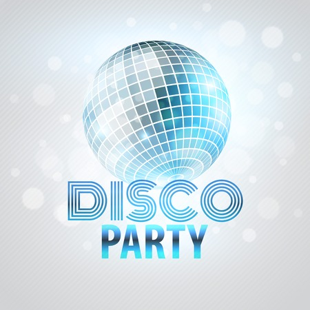reflection in mirror: Disco party. Mirror sphere Vector illustration