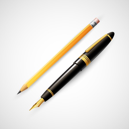 fountain pen: Pencils and pens. Vector illustration