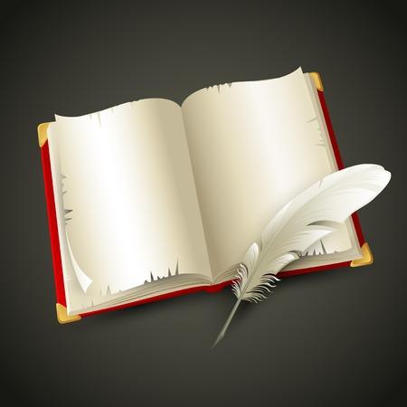pluma de escribir antigua: Libro viejo y pluma. Ilustración vectorial Vectores