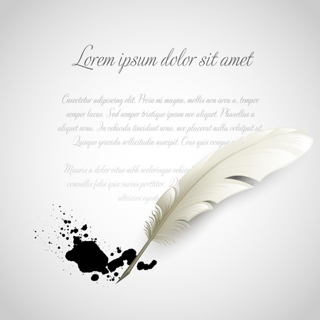 Vintage white Feather Pen and ink splash. Vector illustration Stock Illustratie