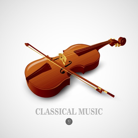 fiddle bow: Violin.  Music instrument Vector illustration