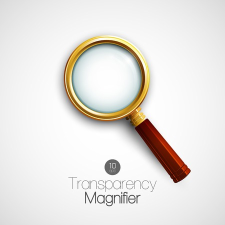 Isolated Gold Magnifier. Vector illustration