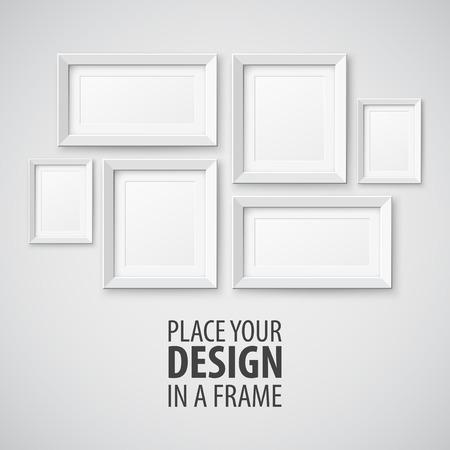 objetos cuadrados: Vector Conjunto de marcos de cuadros. Plantilla para el diseño de usted