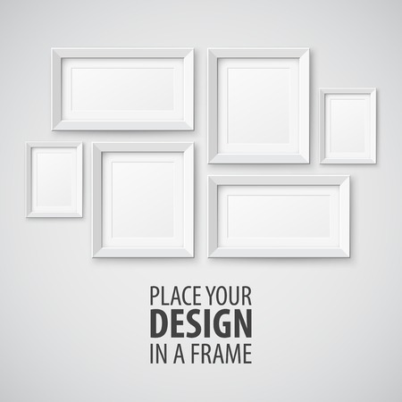 vintage photo frame: Vector Set of Picture Frame. Template for you design