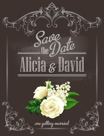 couple date: Save the date Vintage template. Vector illustration