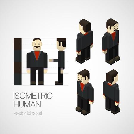 Vector isometric human set. Icon vector illustration Vector