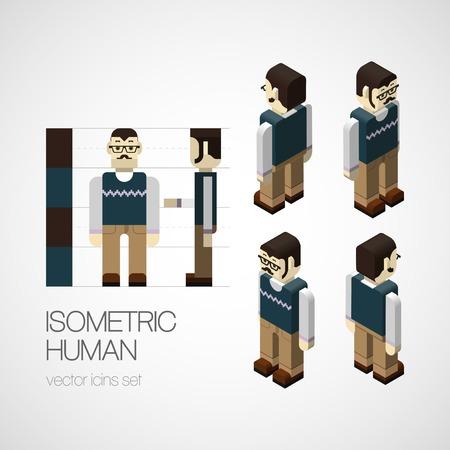 uniformes de oficina: Vector el conjunto isom�trica humano. Icono de ilustraci�n vectorial